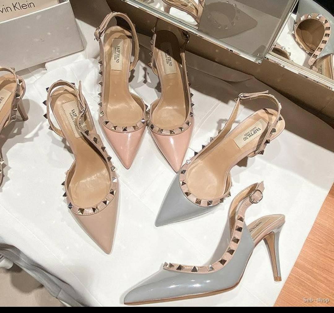 灰色 鉚釘中跟鞋 24.5=39
