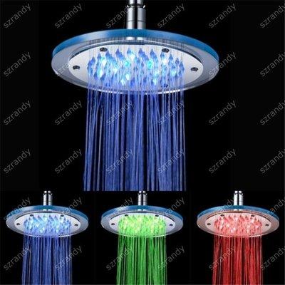 【蘑菇小隊】光療花灑 溫控三色發光變色led頂噴 七彩8寸LED玻璃大花灑 節水淋浴頭-MG72652