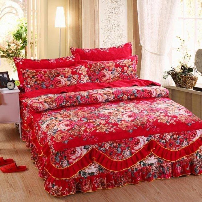 [免運]結婚慶大紅床裙四件式被套被罩婚房情侶床罩組磨毛床包組❥『小果樹』