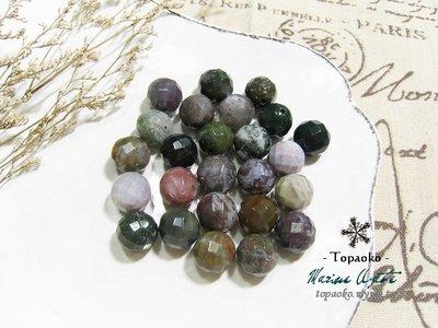 天然石配件.串珠 天然苔紋印度瑪瑙切面圓珠串裝約32P【F9276-1】約12mm散珠條珠DIY《晶格格的多寶格》