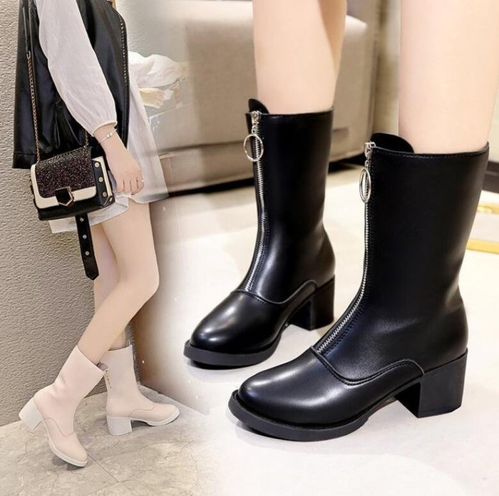 馬丁靴 女靴子時尚前拉鏈英倫風圓頭中筒靴粗跟防水台馬丁靴 短靴—莎芭