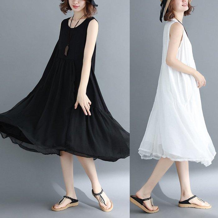 [C.M.平價精品館]L、XL現貨/時尚有型寬鬆舒適飄逸大襬黑色/白色無袖洋裝