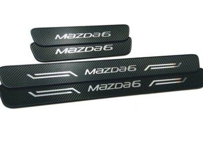 三代馬6 MAZDA6 門檻迎賓踏板 類碳纖飾板 外門檻烤漆位置