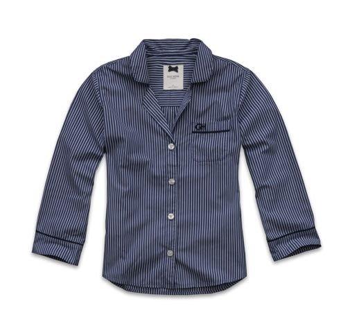 【天普小棧】GILLY HICKS Riverwood Sleep Shirt居家服睡衣襯衫深藍條紋上衣XS/S現貨抵台