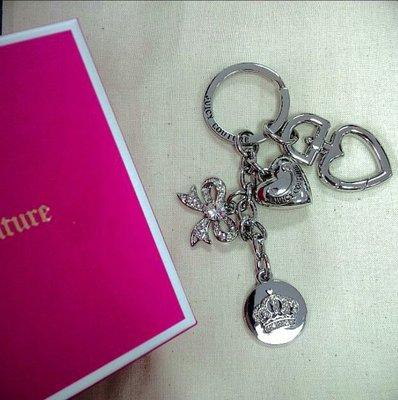 【QuKi特賣】美國Juicy Couture經典款圓牌皇冠愛心蝴蝶結銀亮鑰匙圈,全新附盒,請詢問確認後再下標。