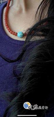 【凡點藏寶軒‧翡翠二館】◎保山南紅瑪瑙+手工綠松石手鑲工24k+青金石