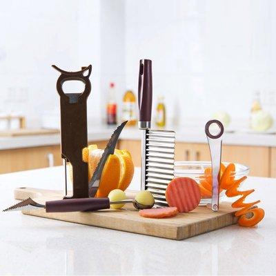 不銹鋼 水果刀 菜刀 魚鱗刀多功能切菜器切土豆切片器 家用廚房用品切絲器刨絲削皮器波浪刀