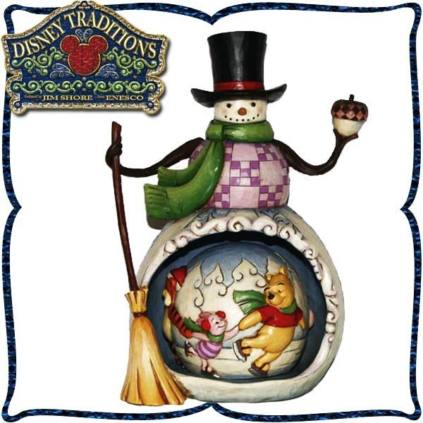 ♥心樂格格♥♫Disney Traditions  迪士尼 [小熊維尼 雪人款 木雕風景品 模型 禮品]全新美版稀有品