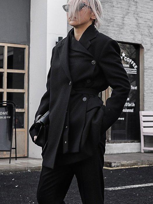 【鈷藍家】小眾品牌獨立設計不對稱雙層雙領綁帶西裝外套 單排扣 多穿 進口亮絲羊毛外套Z