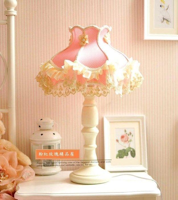 粉紅玫瑰精品屋~粉色點點蕾絲公主枱燈~