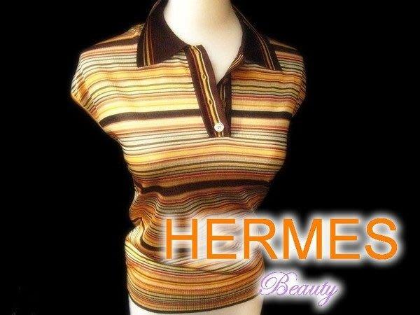 *Beauty*HERMES愛馬仕彩紋針織衫 100%VISCOSE 近全新 WE11
