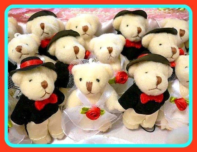 ◎大批發◎囍宴派對新人情侶小熊 甜甜蜜蜜*熊愛您*單購100/1000元/超精緻二款婚紗熊手機吊飾/結婚禮小物 二次進場
