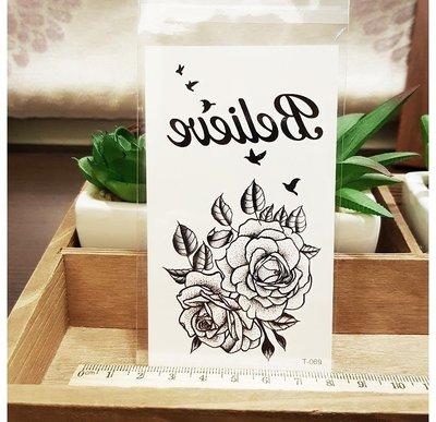 【萌古屋】Believe花朵 - 男女防水紋身貼紙刺青貼紙 T-069