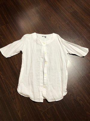 正韓素色白罩衫