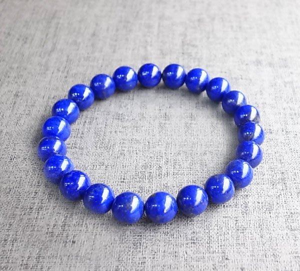 ☆采鑫天然寶石☆**智清覺察**~頂級天然寶藍色澤青金石圓珠手鍊~8.5mm~極美