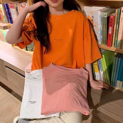 純色港風短袖t恤女夏裝2019新款寬鬆...