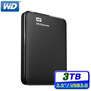 "《SUNLINK》WD Elements Portable 2.5"" 3TB USB3.0 外接式行動硬碟"