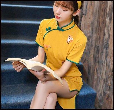 【Fashion歐洲站】迪士尼小狐狸黃色棉麻中式旗袍女春2020新修身短款連衣裙