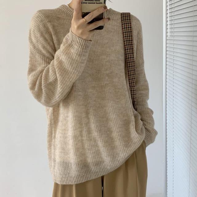 馬海毛【T12949】1A32 軟綿綿薄款針織衫3色F.預購。小野千尋