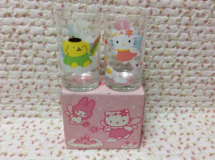 Sanrio hello kitty 家族玻璃杯組(kitty.美樂蒂.布丁狗.可樂鈴)特價出清
