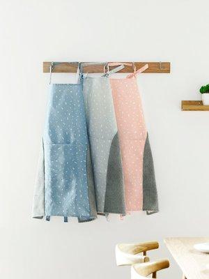 Ordinary shop  清潔用品  可擦手帆布圍裙日式防油防水罩衣 廚房時尚家用無袖女圍腰居家必備