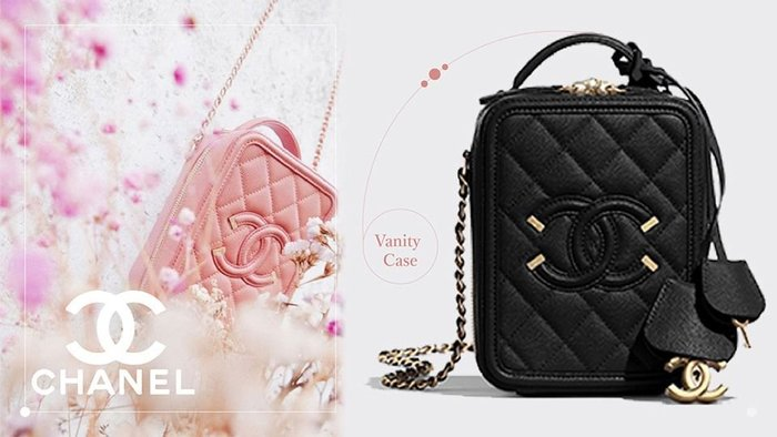 Chanel A93343 CC Filigree Vavnity Case Bag 中型荔枝紋鍊帶包 黑