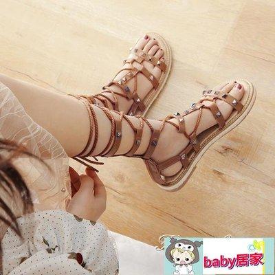 涼鞋海邊女平底鞋度假綁帶百搭網紅仙女風繫帶羅馬鞋【baby居家】