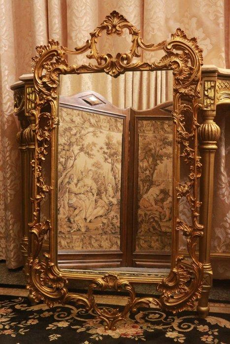 【家與收藏】特價極品稀有珍藏歐洲古董法國凡爾賽華麗巴洛克手工銅雕花玄關大桌鏡/掛鏡
