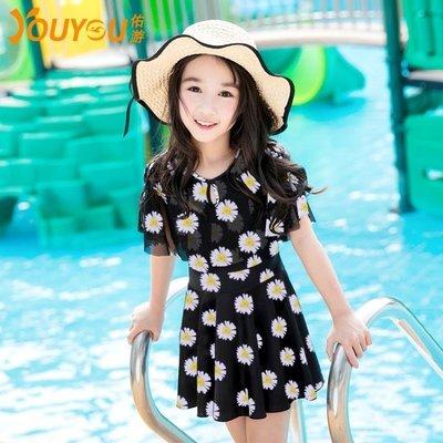【蘑菇小隊】佑游兒童中大童優雅女童連體公主裙泳衣可愛俏皮新款學生泳衣-MG17735