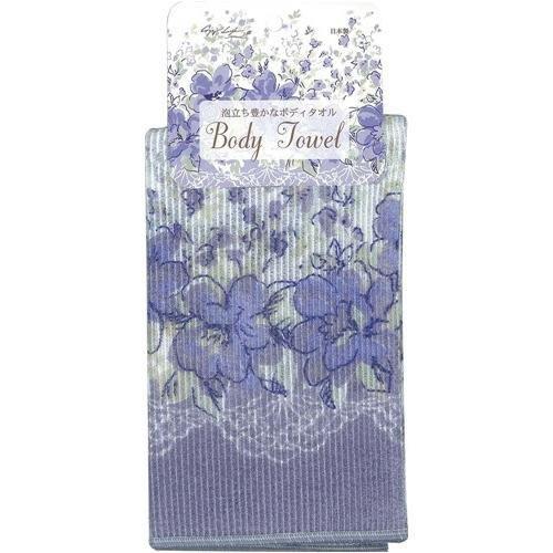 ~~凡爾賽生活精品~~全新日本進口紫色花朵造型沐浴用洗澡巾.擦澡巾~日本製