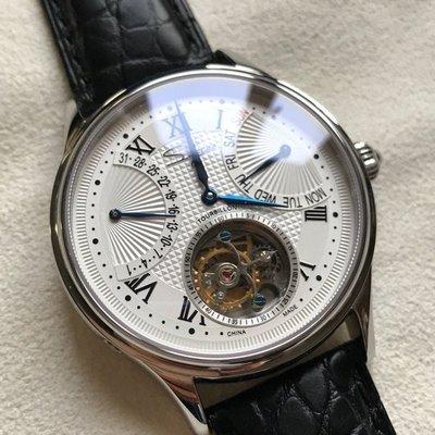 限量獨家機芯款 百萬級別精品手錶~法國sugess ST8004HW手上鍊款雙飛返功能暨飛行陀飛輪機械錶