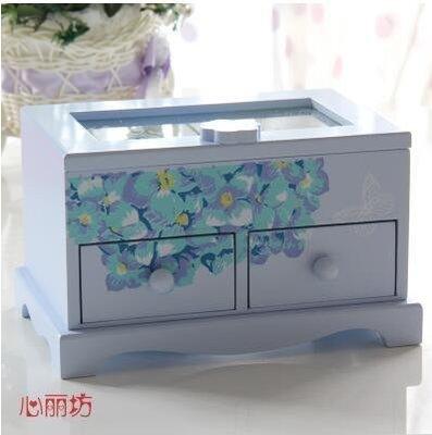 【優上】首飾盒木質 手飾品首飾收納盒小公主歐式戒指盒韓國珠寶耳釘盒子「天藍色」