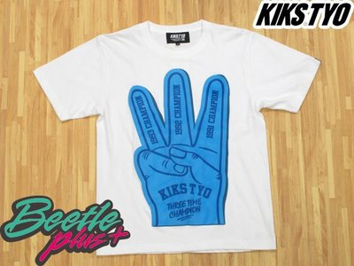 BEETLE PLUS 西門町 現貨  全新 KIKS TYO TEE THREE TIME CHAMPION 基本 日式 手指 藍 白 M