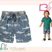 【B& G童裝】正品美國進口GYMBOREE Shark Chambray Shorts鯊魚圖樣格紋布短褲3yrs