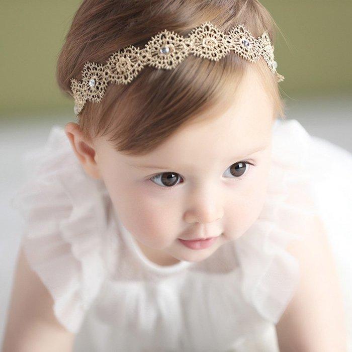 ☆草莓花園☆B47嬰兒鑲鑽款髮帶髮箍 百天照頭飾 嬰兒髮帶 髮冠 皇冠 造型周歲照 藝術照--金色
