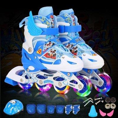 哆啦本鋪 溜冰鞋 4藍色5男童輪滑鞋6全套裝7可調節8小孩9旱冰鞋10歲11 D655