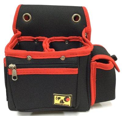 .附發票(東北五金)正日本伊藤 CAT-501雙層雙孔套袋+前拉鏈 工具袋 工具套 釘袋 水電袋 鄒會特價中!