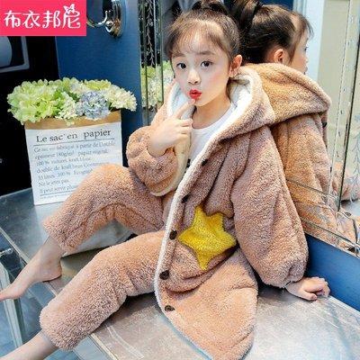 【現貨】女童法蘭絨睡衣中長款兒童家居服秋冬小女孩睡袍加厚冬季加絨套裝SAD261NN3256