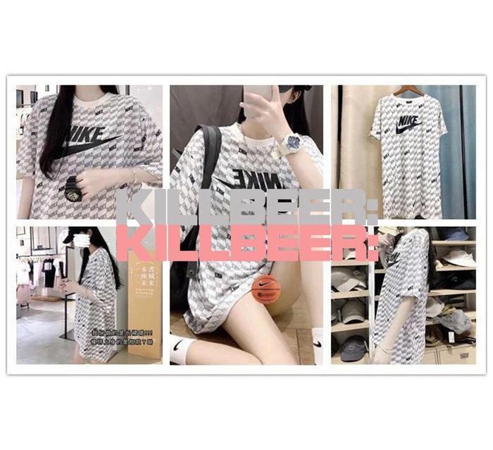 KillBeer:代購✈️✈️NIKE耐吉滿版文字印花LOGO棉質舒適運動風美式休閒長版T恤式連身裙洋裝A080220