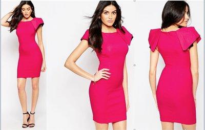 (嫻嫻屋) 英國ASOS-Vesper 時尚俐落摺紙設計袖合身S曲線窄裙櫻桃色禮服洋裝 OL 宴會 現貨UK10