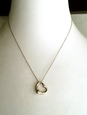 Tiffany&Co (單顆粉紅寶石)925純銀項鍊
