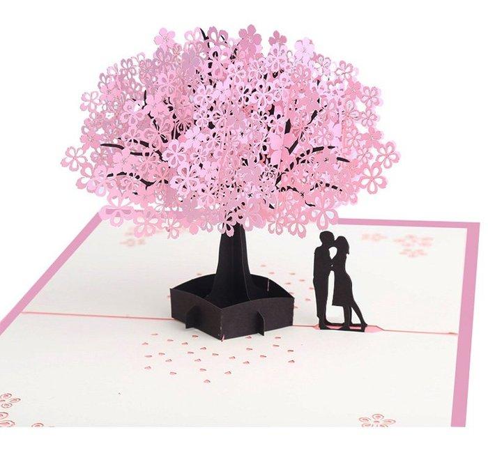 樂芙 粉色櫻花樹戀人卡片 * 情人節卡片 情侶禮 迎賓卡 邀請卡 明信片 婚禮小物 3D卡片 立體紙雕 手工卡片 客製化