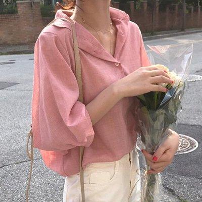 五分袖公主袖薄款女裝上衣 清涼透視感燈籠袖襯衫 艾爾莎【TAE6841】