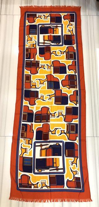 *金選名店*HERMES*愛馬仕*喀什米爾大圍巾 縫紉機幾何花紋 63x180