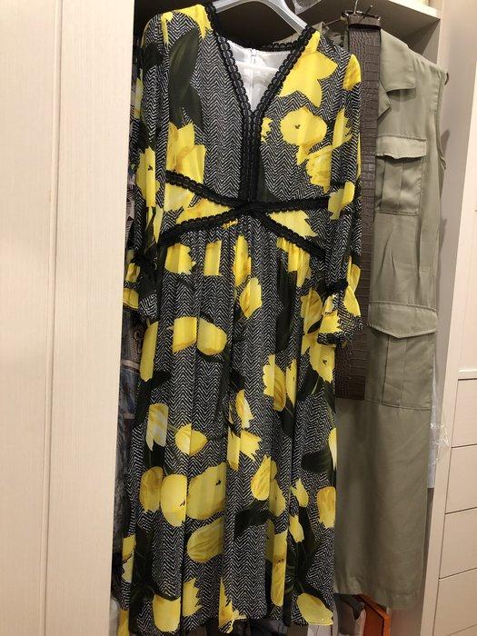 7分袖長洋裝 荷葉袖蕾絲