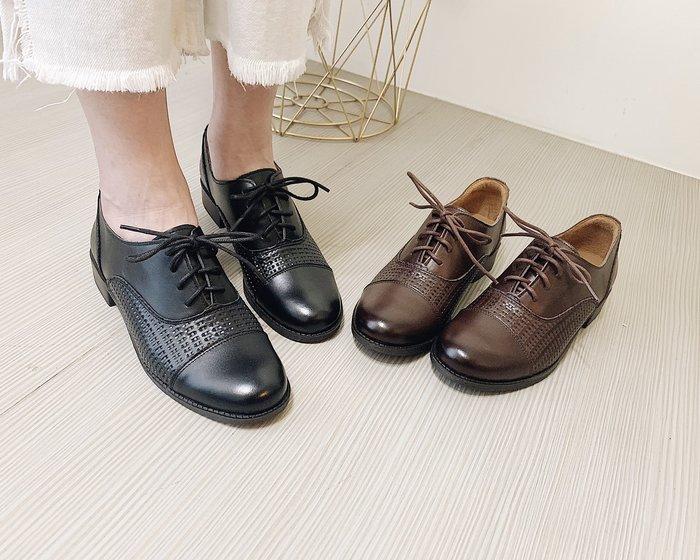 AURA[法式編織。精品LOOK牛皮德比鞋]-音符黑/摩卡咖(21.5~26.5)大小尺碼