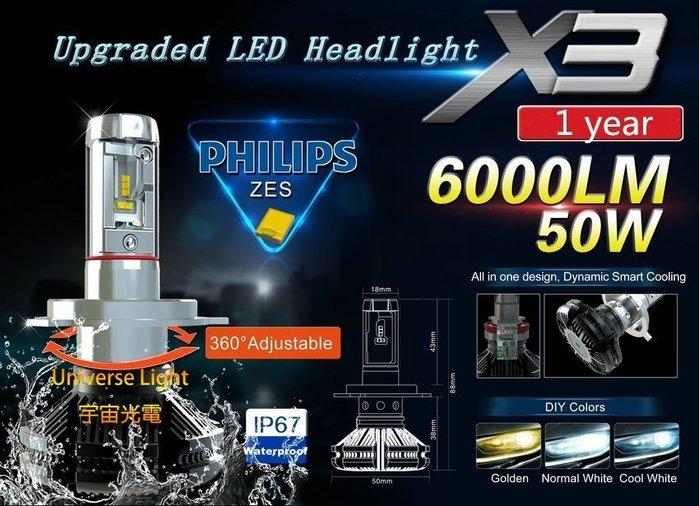 正品保固一年 X3 可變色 LED 大燈 H4 HS1 H17 H7 H8 H11 H16 9005 9006 9012