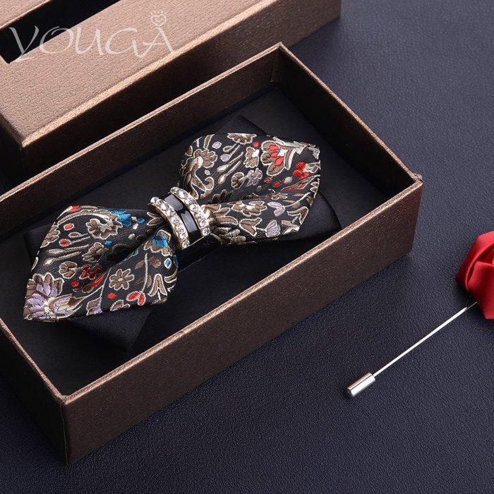 精致水鉆英倫男士蝴蝶結碎花領結男 正裝結婚領帶韓版雙層新郎