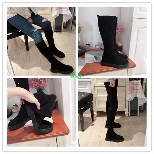 優品庫~秋冬長筒靴子中筒靴粗跟平底彈力瘦瘦靴高筒靴