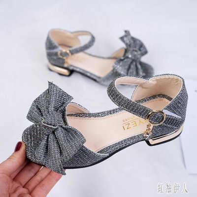 女童鞋涼鞋2019新款夏季中大童軟底女孩小高跟鞋公主時尚演出鞋子xy271【藍色彼岸】